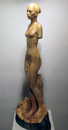 Tree Athena by Troy Williams female nude blonde wood sculpture Santa Fe artist