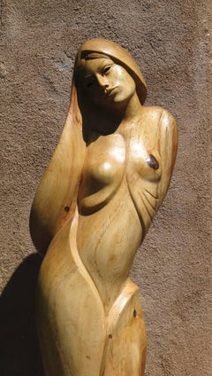 New Day by Troy Williams wood sculpture, female figure, Santa Fe artist