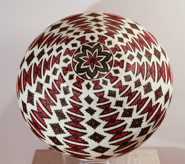 Rain Forest Basket Panama by Ana Cabezon, finely woven,red,green,black geometric - Contemporary Art by Unknown