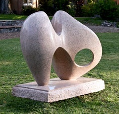 Dance With Wisdom, pink granite, abstract sculpture