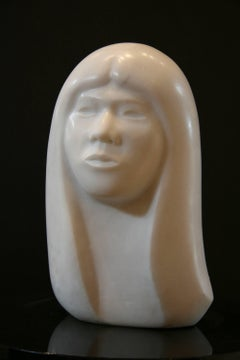 Young Beauty, Allan Houser white marble sculpture portrait of an Apache woman