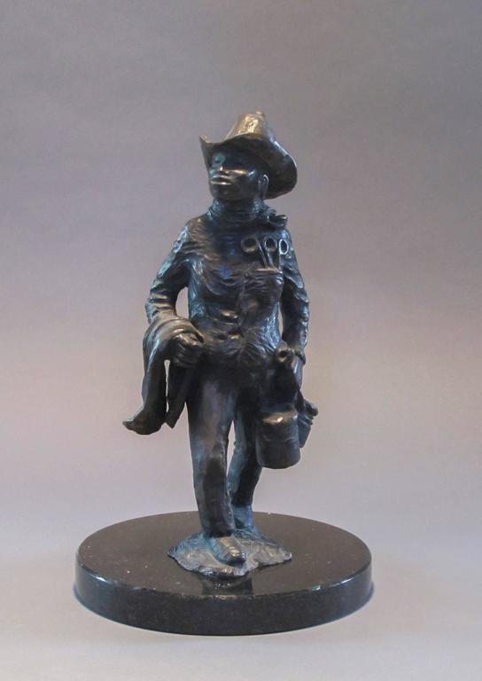 Standing Apache Drummer, bronze sculpture, Allan Houser,solid cast, Nambe - Gold Figurative Sculpture by Allan Houser (Haozous)