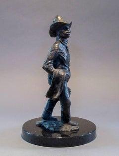 Standing Apache Drummer, bronze sculpture, Allan Houser,solid cast, Nambe