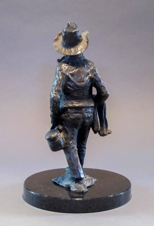 Standing Apache Drummer, bronze sculpture, Allan Houser,solid cast, Nambe For Sale 1