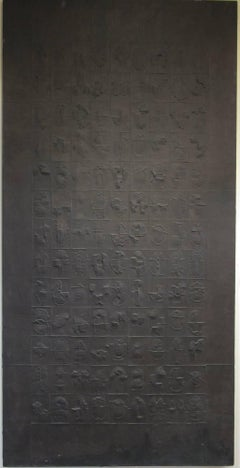 Writings 117, Cheung Yee, handmade cast paper painting dark brown, turtle shells
