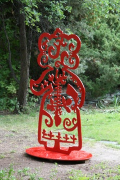 Strength From Within II, aluminum, red, Navajo, sculpture