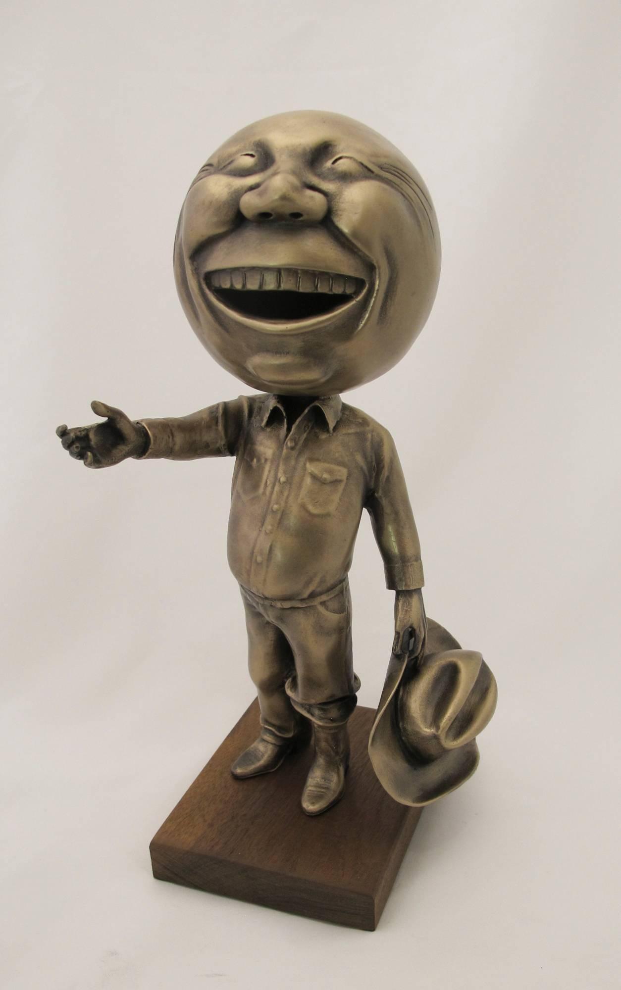 Howdy, Rodger Jacobsen, bronze cowboy sculpture, gold patina,Texas edition