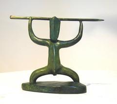 Ihi (Power), contemporary Maori sculpture, green patina, warrior figure