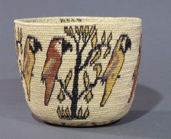 Wounaan Tribal Basket Panama Rain Forest, Parrots, trees,star motif