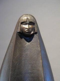 Corn Harvest, Pueblo woman, corn, bronze sculpture, Contemporary Native Art