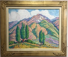 Poplars and Mountains, gold frame, landscape, unique oil on canvas, Taos Society