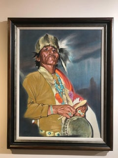 Drummer, by Gay Betts  Native American Drummer, oil on canvas painting