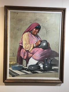 Potter, oil on canvas, Pueblo Indian Potter Gay Betts, American Indian