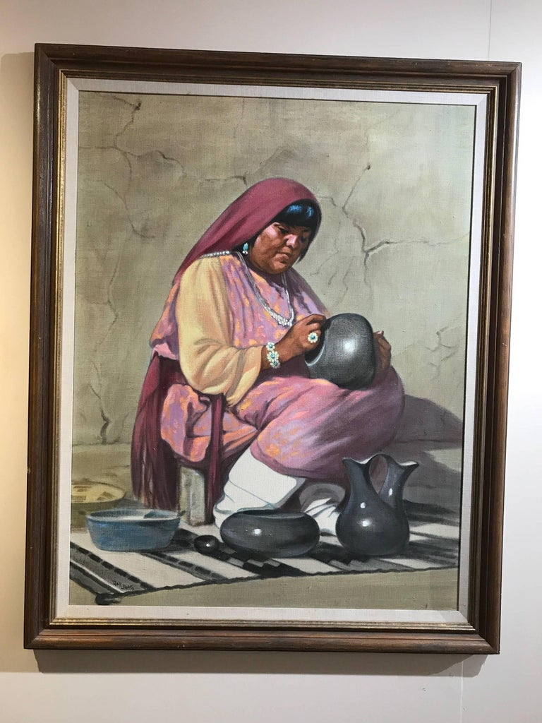 Grace (Gay) Betts Figurative Painting - Potter, oil on canvas, Pueblo Indian Potter Gay Betts, American Indian