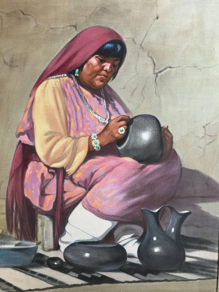 Potter, oil on canvas, Pueblo Indian Potter Gay Betts, American Indian - Painting by Grace (Gay) Betts