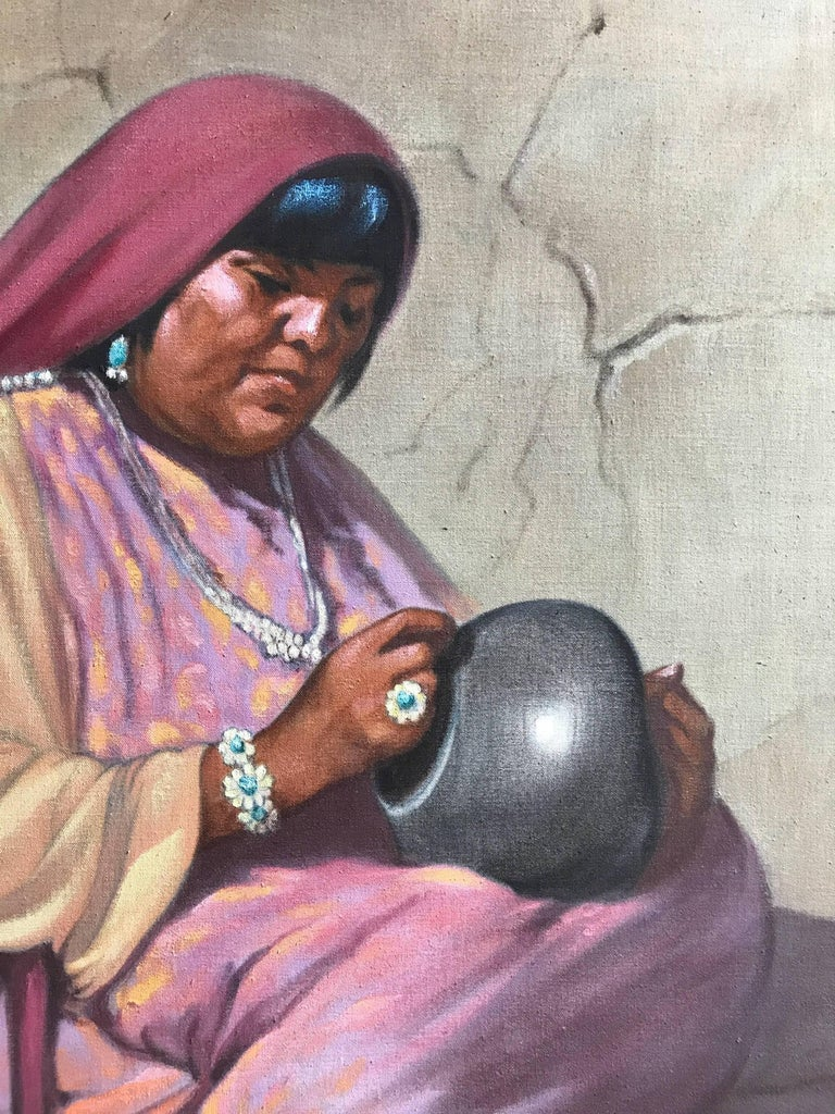 Potter, oil on canvas, Pueblo Indian Potter Gay Betts, American Indian - Brown Figurative Painting by Grace (Gay) Betts