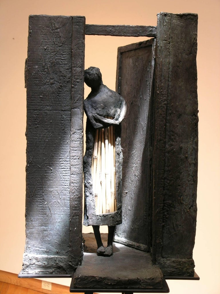 Empty Cupboard (Alacena Vacia), bronze and straw sculpture