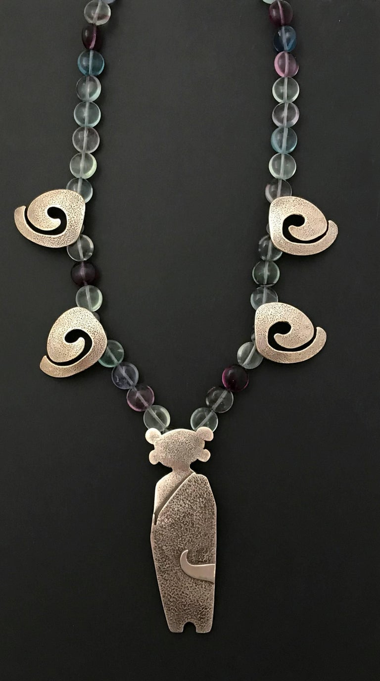 Standing Guard necklace, sterling silver, fluorite beads