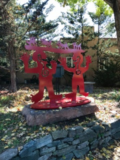 Two Minds Meeting, red powder coated aluminum sculpture contemporary Navajo art