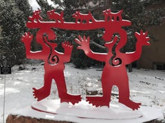 Two Minds Meeting, red powder coated aluminum sculpture