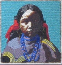 Jicarilla Girl, beaded portrait of Native American girl