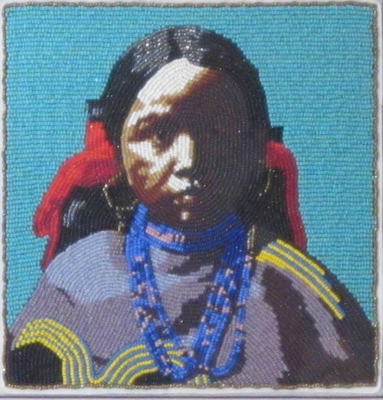 Marcus Amerman Mixed Media Art - Jicarilla Girl, beaded portrait of Native American girl