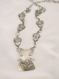 Morning Walker, adjustable sterling silver necklace with plants