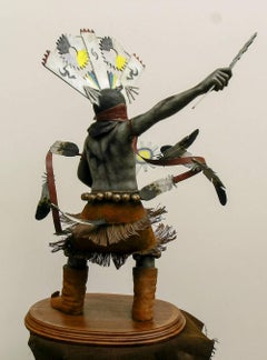Apache Mountain Spirit Dancer 1, bronze sculpture, multicolored patina Goseyun