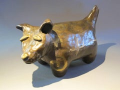 Levi Blacksheep Dreams of Flying, bronze dog, airplanes, Navajo, gold tones