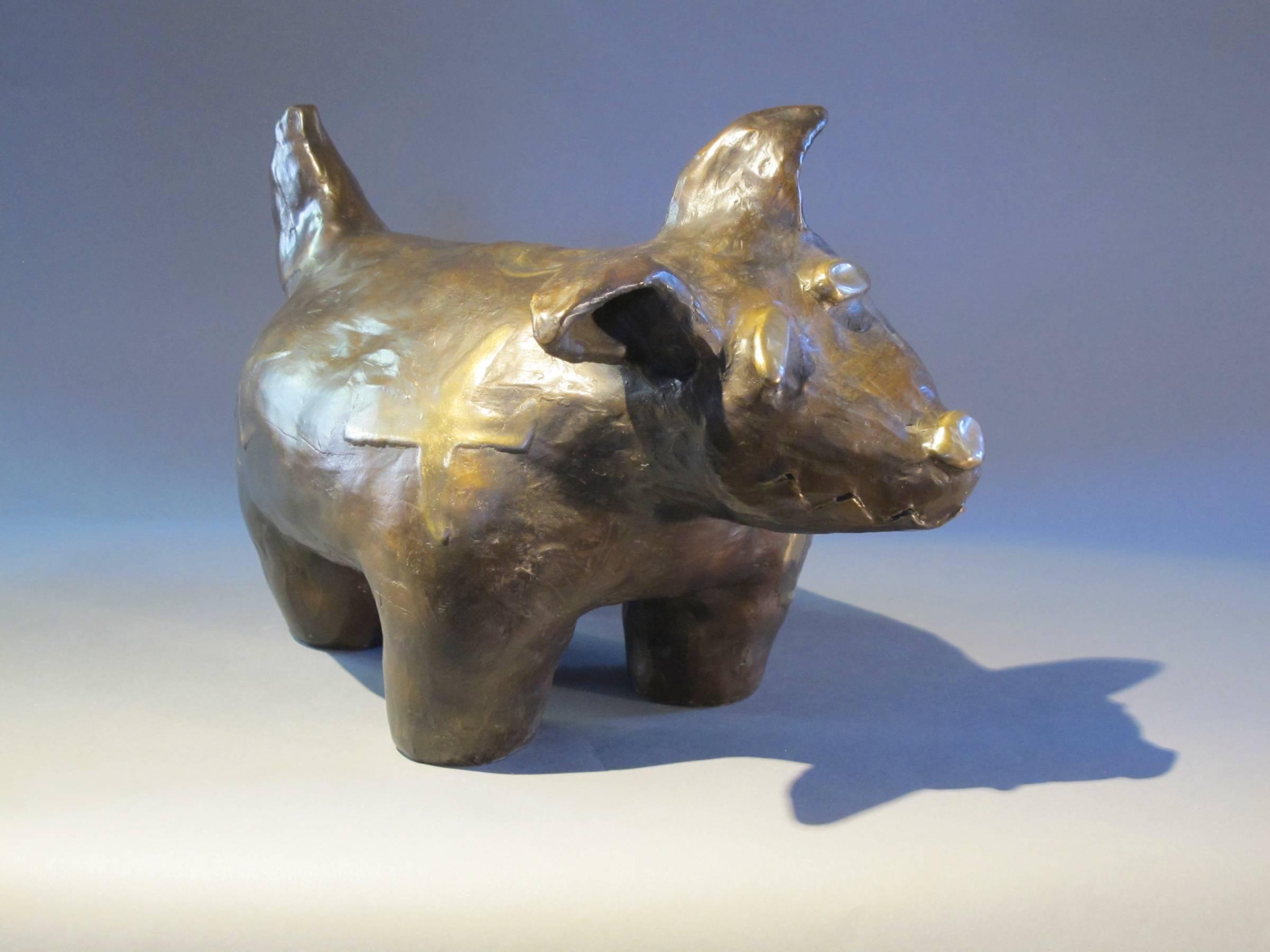 Levi Blacksheep Dreams of Flying, bronze dog, airplanes,Navajo,gold tones Native