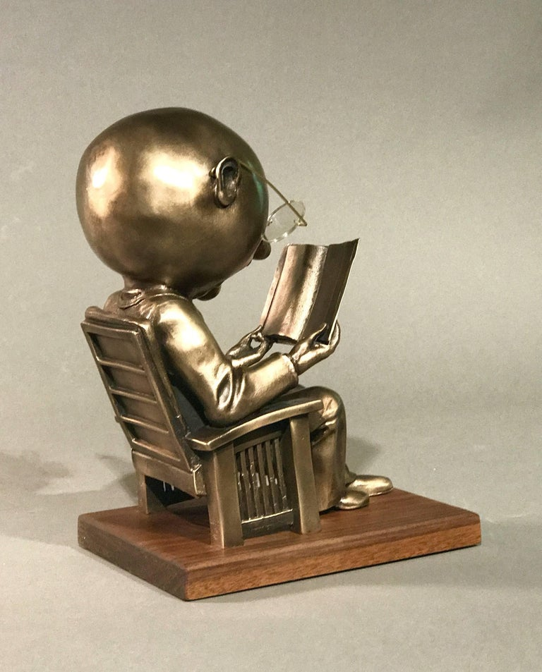 The Reader (small), gold bronze sculpture, reading book, glasses,Rodger Jacobsen - Gold Figurative Sculpture by Rodger Jacobsen