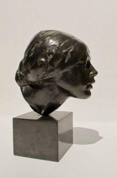 Nuska, Portrait of a Girl, unique bronze portrait by Isamu Noguchi 1924