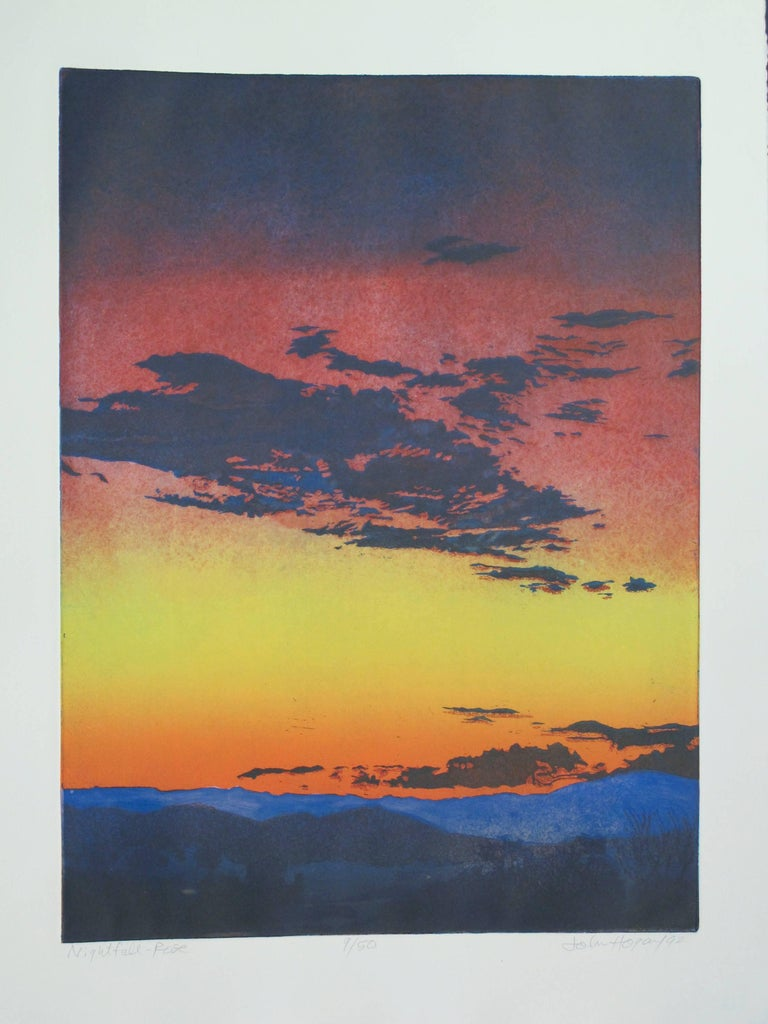 Night Fall Rose, limited edition hand pulled color etching, sunset desert yellow