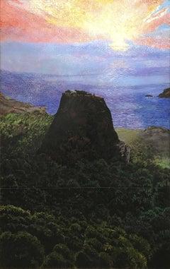 Monolithos, landscape, seascape, mixed media painting, blue, black, pink, Greece