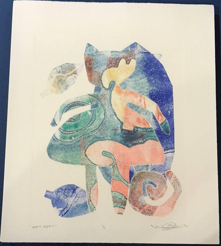 Melanie Yazzie Animal Print - Soft Spot, unique monoprint, cat girl, orange, blue, green