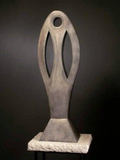 Gaya, copper sculpture, silver, abstract totem
