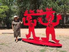 Two Minds Meeting, large red sculpture, animals, people, Melanie Yazzie Navajo