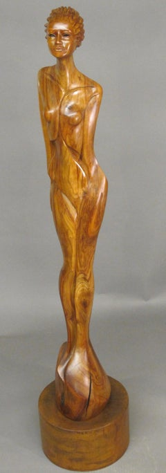 Places In The Heart, Nut wood sculpture on steel base,female nude,brown,Williams