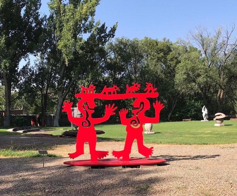 Two Minds Meeting, Melanie Yazzie large red sculpture, animals, people, Navajo - Contemporary Art by Melanie Yazzie