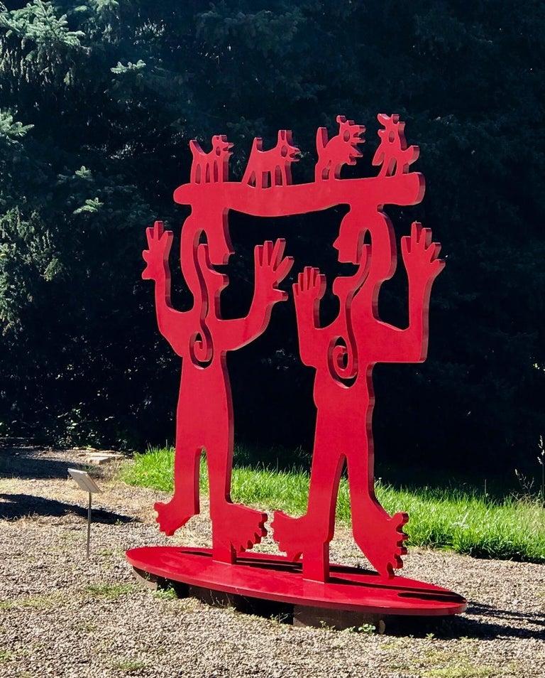 Two Minds Meeting, Melanie Yazzie large red sculpture, animals, people, Navajo  Melanie A. Yazzie