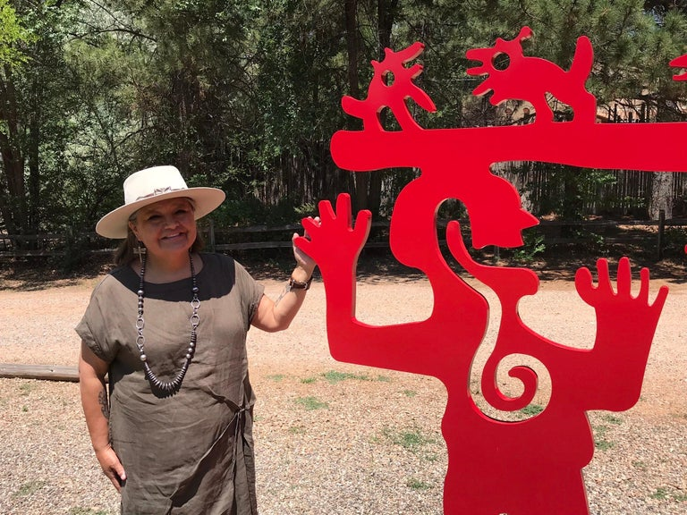 Two Minds Meeting, Melanie Yazzie large red sculpture, animals, people, Navajo For Sale 1