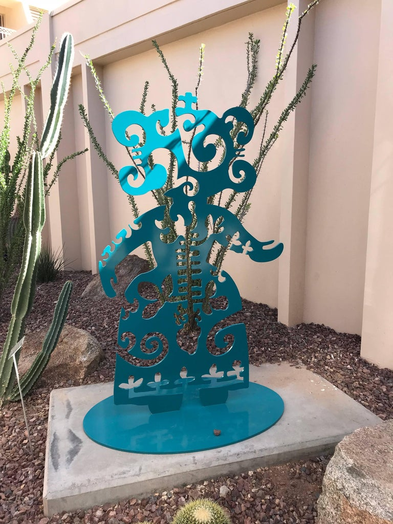 Strength From Within, aluminum, turquoise, Navajo, sculpture, Melanie Yazzie For Sale 4