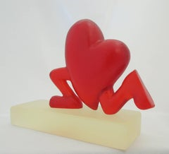 Running Heart, red, resin, sculpture, Valentine, Love, Cartoon, humor, feet