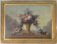 Still Life of Flowers in Basket on Ledge, oil painting, gold frame French school