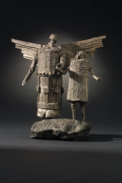My Angel (Mi Angel), Eduardo Oropeza bronze sculpture, antique silver patina