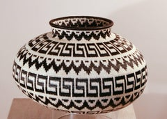 Rain Forest Basket black white geometric Panama Rainforest Basket Wounaan Tribe