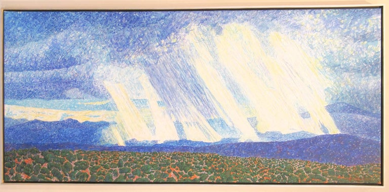 Rain and Sun-View From Studio, John Hogan New Mexico landscape painting mountain - Painting by John Hogan
