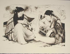 Shime, Navajo women with child lithograph