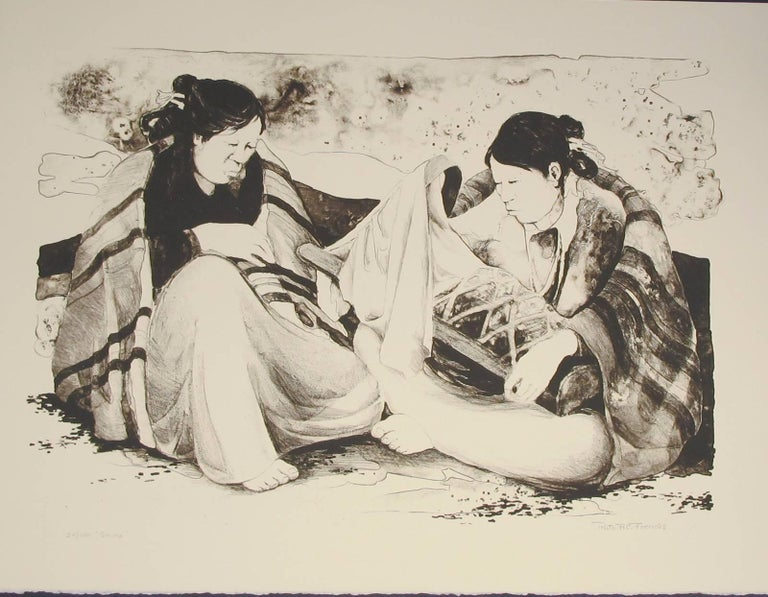 Ruth Frerichs Figurative Print - Shime, Navajo women with child lithograph
