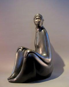 Serene Moment, bronze sculpture, Navajo mother and child